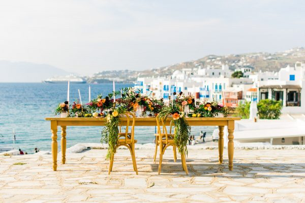 Elegant  wedding editorial in mykonos